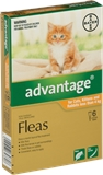 Advantage Small Cat & Kitten <4kg 6 pack-flea-|-worm-The Pet Centre