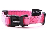 Pet One Collar Adjustable Reflective 15mm 30-45cm Pink-reflective-The Pet Centre