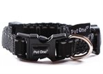 Pet One Collar Adjustable Reflective 15mm 24-37cm Black-reflective-The Pet Centre