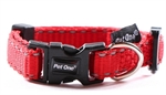 Pet One Collar Adjustable Reflective 25mm 40-65cm Red-dog-The Pet Centre