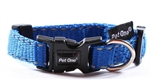 Pet One Collar Adjustable Reflective 25mm 40-65cm Blue-dog-The Pet Centre