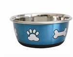 Stainless Steel Durapet Fashion Bowl - Blue 500ml-stainless-The Pet Centre