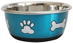 Stainless Steel Durapet Fashion Bowl - Blue 1.9L-stainless-The Pet Centre