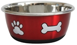 Stainless Steel Durapet Fashion Bowl - Red 1.9L-stainless-The Pet Centre