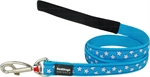 Red Dingo Lead Stars White on Turquoise 20mm x 1.2m-fashion-The Pet Centre