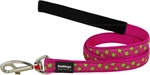 Red Dingo Lead Stars Lime On Hot Pink 20mm x 1.2m-fashion-The Pet Centre