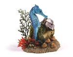 Seahorse with Plant - Blue-decorations-The Pet Centre