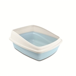 Cat Love Rimmed Litter Tray Medium Blue / Grey-cat-The Pet Centre