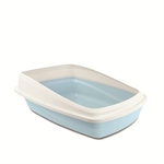 Cat Love Rimmed Litter Tray Large Blue / Grey-open-trays-The Pet Centre