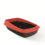 Cat Love Rimmed Litter Tray Large Charcoal / Red-open-trays-The Pet Centre