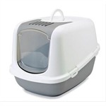 Savic Nestor Hooded Litter Tray Grey-cat-The Pet Centre