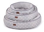 Kazoo Funky Bed Polkadot Cream Large 63cm-raised-sides-The Pet Centre