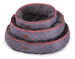 Kazoo Funky Bed Polkadot Orange Medium 53cm-raised-sides-The Pet Centre