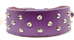 Pet One Leather Dog Collar Triple Stud 60cm Purple-dog-The Pet Centre