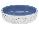Cat Dish for Short-Nosed Breeds - Blue/White 15cm-bowls-The Pet Centre