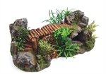 Bamboo Bridge With Plants - Large-ornaments-The Pet Centre
