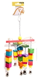 Avi One Leather Rope Wood Cube Bell Toy-bird-The Pet Centre